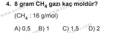 Kimya 3 Dersi 2018 - 2019 Yılı 2. Dönem Sınavı 4. Soru