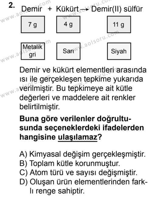 Kimya 3 Dersi 2018 - 2019 Yılı 3. Dönem Sınavı 2. Soru