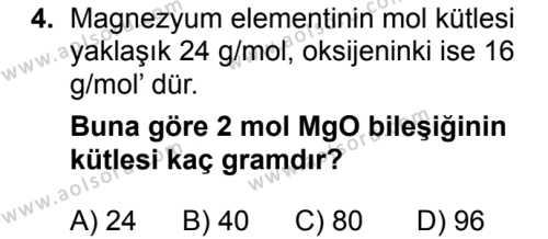 Kimya 3 Dersi 2018 - 2019 Yılı 3. Dönem Sınavı 4. Soru