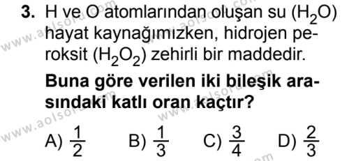Kimya 3 Dersi 2018 - 2019 Yılı Ek Sınavı 3. Soru