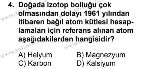 Kimya 3 Dersi 2018 - 2019 Yılı Ek Sınavı 4. Soru
