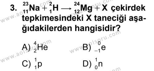 Kimya 4 Dersi 2012-2013 Yılı 1. Dönem Sınavı 3. Soru