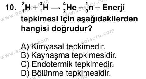 Kimya 4 Dersi 2012-2013 Yılı 1. Dönem Sınavı 10. Soru