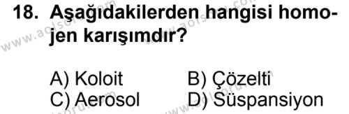 Kimya 4 Dersi 2013-2014 Yılı 1. Dönem Sınavı 18. Soru