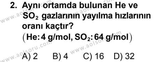 Kimya 4 Dersi 2013 - 2014 Yılı 3. Dönem Sınav Soruları 2. Soru