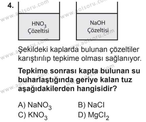 Kimya 4 Dersi 2018 - 2019 Yılı 2. Dönem Sınavı 4. Soru