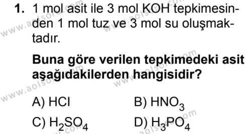 Kimya 4 Dersi 2018 - 2019 Yılı 3. Dönem Sınavı 1. Soru