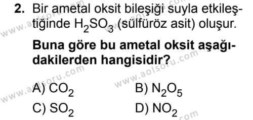 Kimya 4 Dersi 2018 - 2019 Yılı 3. Dönem Sınavı 2. Soru