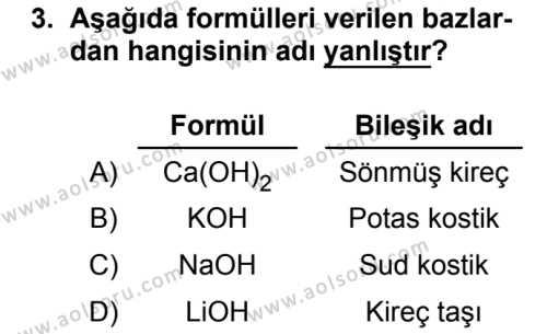 Kimya 4 Dersi 2018 - 2019 Yılı 3. Dönem Sınavı 3. Soru