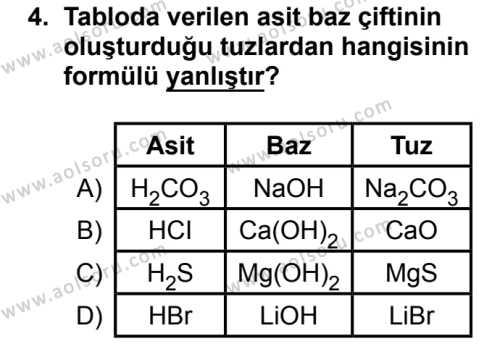 Kimya 4 Dersi 2018 - 2019 Yılı 3. Dönem Sınavı 4. Soru