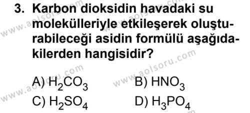 Kimya 4 Dersi 2018 - 2019 Yılı Ek Sınavı 3. Soru