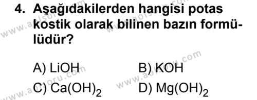 Kimya 4 Dersi 2018 - 2019 Yılı Ek Sınavı 4. Soru