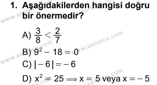 Matematik 1 Dersi 2011 - 2012 Yılı Ek Sınav Soruları 1. Soru