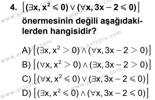 Matematik 1 Dersi 2012 - 2013 Yılı 1. Dönem Sınav Soruları 4. Soru