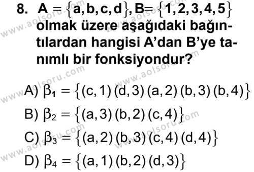 Matematik 1 Dersi 2011-2012 Yılı 1. Dönem Sınavı 8. Soru