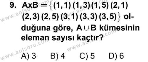 Matematik 1 Dersi 2011-2012 Yılı 1. Dönem Sınavı 9. Soru