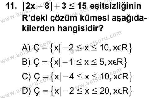 Matematik 1 Dersi 2013-2014 Yılı 1. Dönem Sınavı 11. Soru