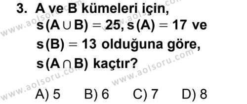 Matematik 1 Dersi 2013 - 2014 Yılı 3. Dönem Sınavı 3. Soru