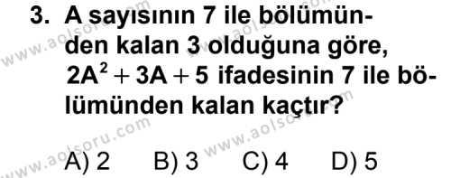 Matematik 2 Dersi 2011 - 2012 Yılı Ek Sınavı 3. Soru