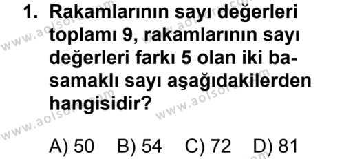 Matematik 2 Dersi 2012 - 2013 Yılı 1. Dönem Sınav Soruları 1. Soru