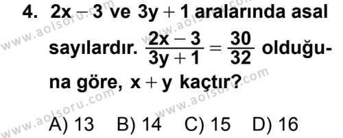 Matematik 2 Dersi 2012 - 2013 Yılı 1. Dönem Sınav Soruları 4. Soru