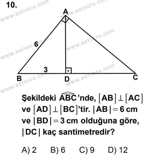 Matematik 2 Dersi 2014-2015 Yılı 1. Dönem Sınavı 10. Soru