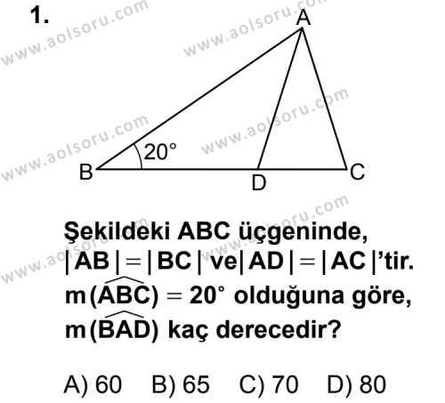 Matematik 2 Dersi 2014 - 2015 Yılı Ek Sınav Soruları 1. Soru