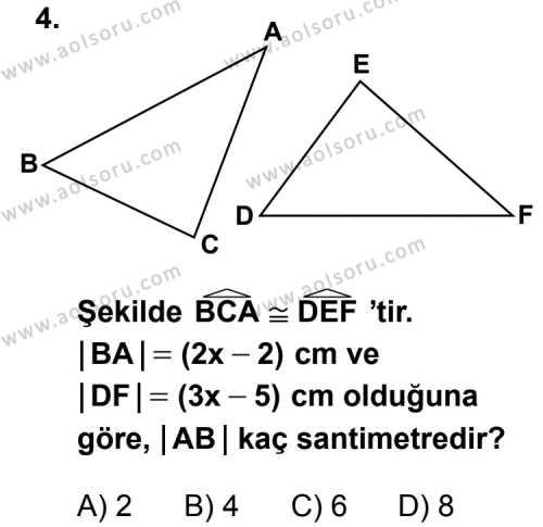 Matematik 2 Dersi 2014 - 2015 Yılı Ek Sınav Soruları 4. Soru