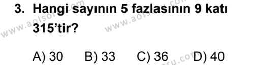 Matematik 2 Dersi 2018 - 2019 Yılı 3. Dönem Sınavı 3. Soru