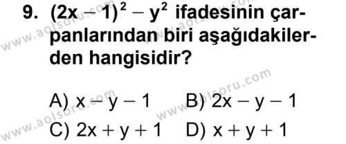 Matematik 3 Dersi 2011-2012 Yılı 1. Dönem Sınavı 9. Soru