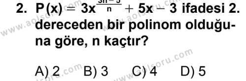 Matematik 3 Dersi 2011 - 2012 Yılı Ek Sınavı 2. Soru