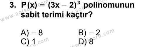 Matematik 3 Dersi 2011 - 2012 Yılı Ek Sınavı 3. Soru