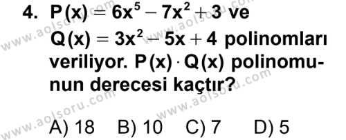 Matematik 3 Dersi 2011 - 2012 Yılı Ek Sınavı 4. Soru