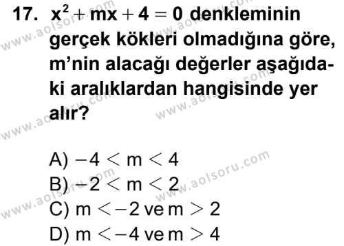 Matematik 3 Dersi 2013-2014 Yılı 1. Dönem Sınavı 17. Soru