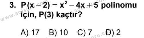 Matematik 3 Dersi 2013 - 2014 Yılı 3. Dönem Sınav Soruları 3. Soru