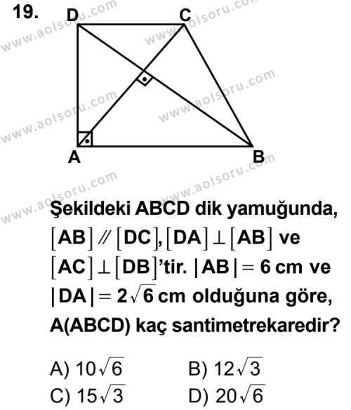 Matematik 3 Dersi 2014-2015 Yılı 1. Dönem Sınavı 19. Soru