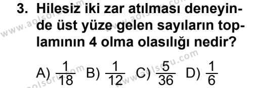 Matematik 3 Dersi 2014 - 2015 Yılı Ek Sınav Soruları 3. Soru