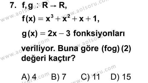 Matematik 3 Dersi 2015-2016 Yılı 1. Dönem Sınavı 7. Soru