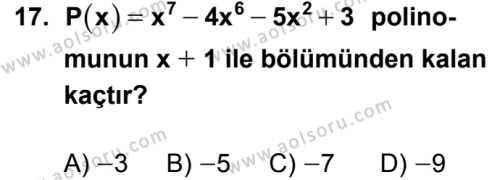 Matematik 3 Dersi 2018-2019 Yılı 1. Dönem Sınavı 17. Soru