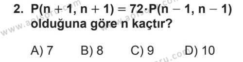 Matematik 3 Dersi 2018 - 2019 Yılı 2. Dönem Sınavı 2. Soru