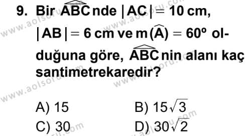 Matematik 4 Dersi 2012-2013 Yılı 1. Dönem Sınavı 9. Soru