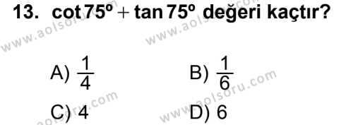 Matematik 4 Dersi 2012-2013 Yılı 1. Dönem Sınavı 13. Soru