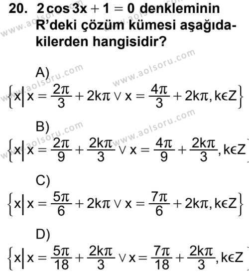 Matematik 4 Dersi 2012-2013 Yılı 1. Dönem Sınavı 20. Soru