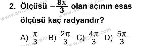 Matematik 4 Dersi 2013 - 2014 Yılı 3. Dönem Sınav Soruları 2. Soru
