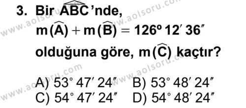 Matematik 4 Dersi 2013 - 2014 Yılı 3. Dönem Sınav Soruları 3. Soru