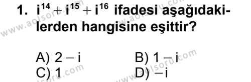 Matematik 4 Dersi 2014 - 2015 Yılı Ek Sınav Soruları 1. Soru