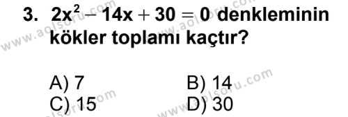 Matematik 4 Dersi 2014 - 2015 Yılı Ek Sınav Soruları 3. Soru