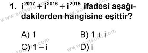 Matematik 4 Dersi 2015 - 2016 Yılı 3. Dönem Sınavı 1. Soru