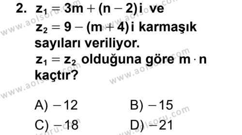 Matematik 4 Dersi 2015 - 2016 Yılı 3. Dönem Sınavı 2. Soru