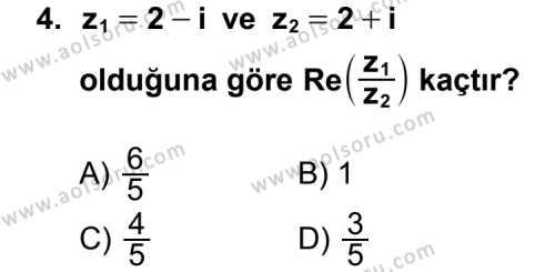 Matematik 4 Dersi 2015 - 2016 Yılı 3. Dönem Sınavı 4. Soru